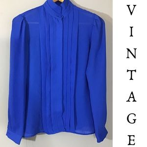 Vintage 90s Royal Blue Polyester Chiffon Blouse